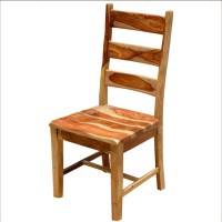 Dallas Rustic Solid Wood Ladder Back Side Dining Chair ...