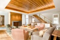 Reclaimed Oak Ceiling Paneling - Transitional - Living ...