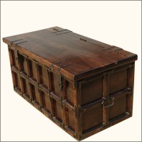 Solid Wood & Iron Rustic Coffee Table Storage Trunk ...