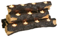 Sierra Tealight Fireplace Log - Rustic - Candles And ...