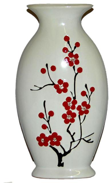 Ceramic HandPainted Cherry Blossom Vase  Contemporary