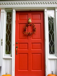 Red Front Door With Pineapple Knocker