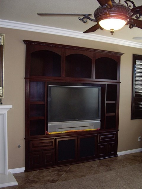Entertainment Centers  Traditional  Living Room  orange