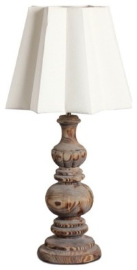 Country Style Handmade Wooden Carved Table Lamp ...
