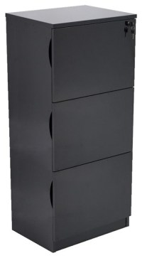 Forbes 3 Drawer Black High Gloss Filing Cabinet ...