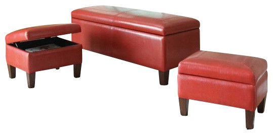3Piece Set Ibrahim Red LeatherLike Upholstered Tufted Top Storage Bench  Contemporary