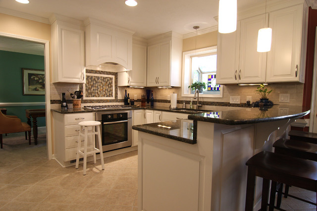 White Kitchen With Bar Counter