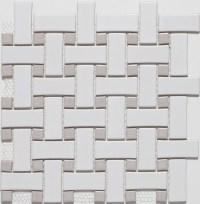Ceramic White/Grey Basketweave Mosaic Tiles - Contemporary ...