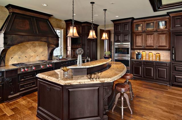 Dark mixed wood custom cabinets  Traditional  Kitchen