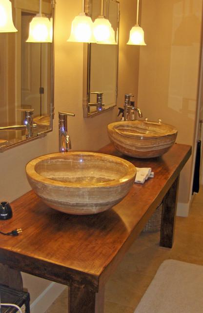 Extra Large Onyx Vessel Sinks on Solid Teak Slab Vanity
