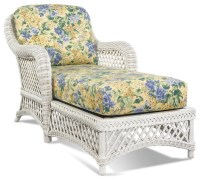 White Wicker Chaise - Lanai - Tropical - Indoor Chaise ...