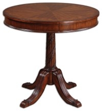 Brakefield Pecan Round Table - Traditional - Side Tables ...