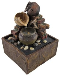 Tabletop Tranquility Pottery Fountain with Lights Battery ...