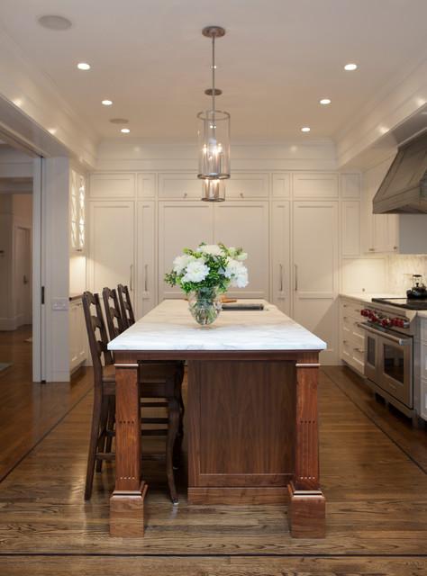 Black Walnut Kitchen Island with White Marble Countertops