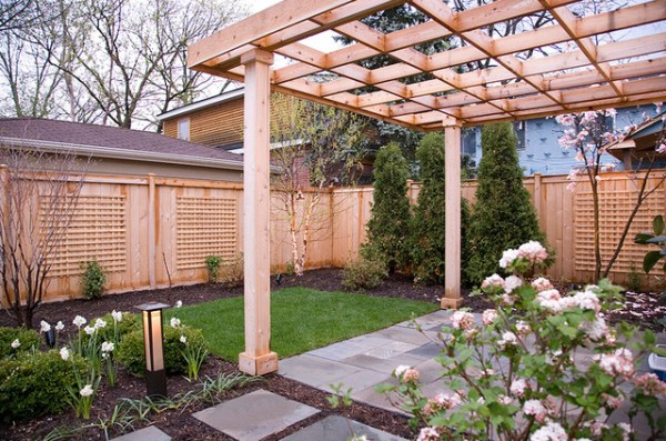 modern pergola and fence details