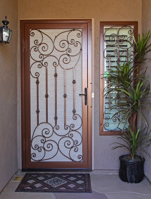 Traditional Scroll Security Screen Door by First