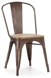 Elio Rustic Wood Chairs, Set of 2 - Industrial - Dining ...