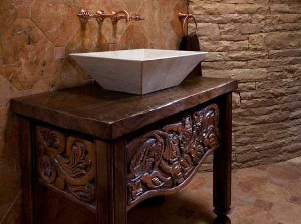 Custom Wood Carving Mediterranean Bathroom Vanities