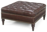 Oxford Tufted Square Leather Ottoman