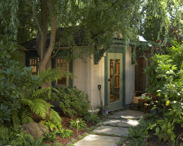 eclectic garage and shed by Harrell Remodeling