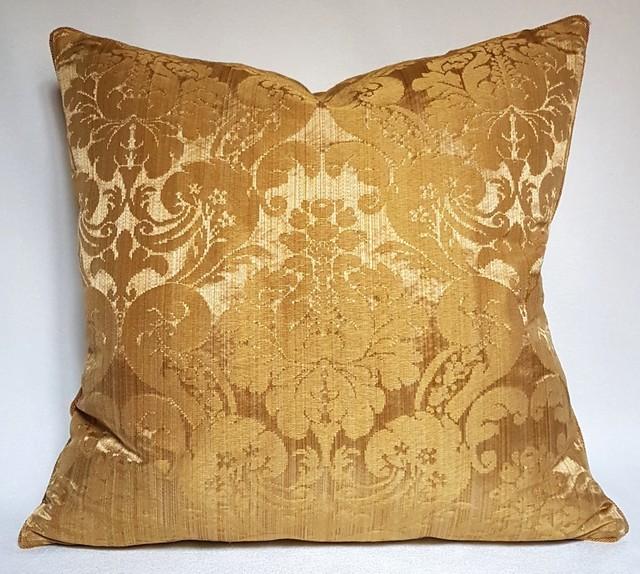 Rubelli Ruzante Gold Silk Damask Fabric Throw Pillow