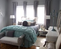 Gray and Aqua Glitzy Master Bedroom - Contemporary ...