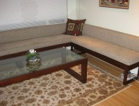 Living room bench seating and coffee table