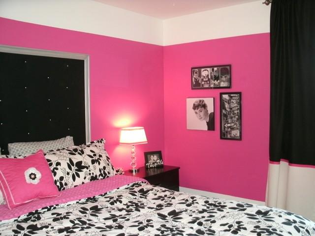 Dramatic Hot Pink Black  White Teen Bedroom