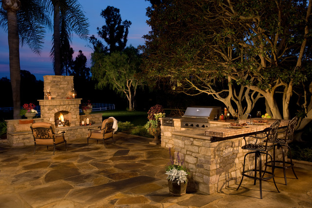 Rustic Stone Outdoor Kitchen And Fireplace Traditional Patio San Diego By Eldorado Stone