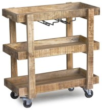 Reclaimed Wood Bar Cart with Wheels - Eclectic - Bar Carts ...