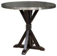Carlo Bar Table with Zinc Top - Rustic - Indoor Pub And ...