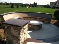 Custom Concrete Seating Bench Around Gas Firepit ...