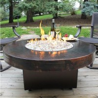 """42"""" Round Oriflamme Hammered Copper Fire Table ..."""