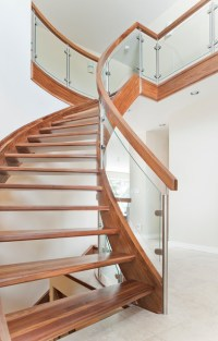 Curved Walnut Stair With Curved Glass - Contemporary ...