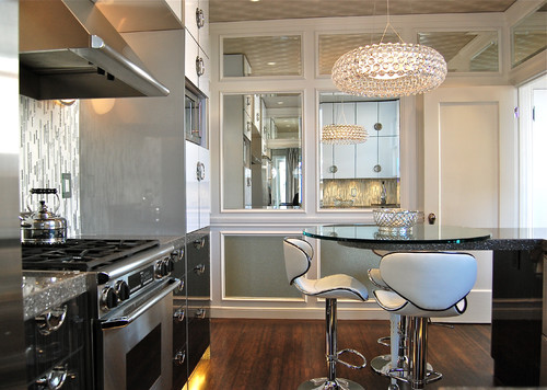 kitchen mirrors showrooms beautiful ways to add in the for a small or pantry use framed create symmetry you can place same frames paint color as
