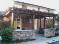 Wood Pergola with Stone Walls - Traditional - Patio ...