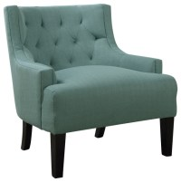 Polyfiber Upholstered Tufted Back Accent Side Chair, Light ...