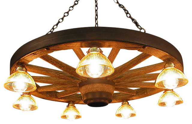 Large Wagon Wheel Chandelier with Down Lights  Rustic