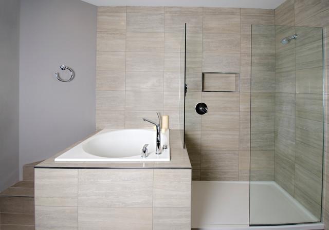 Deep Japanese Soaker TubWalkin Shower  Contemporary
