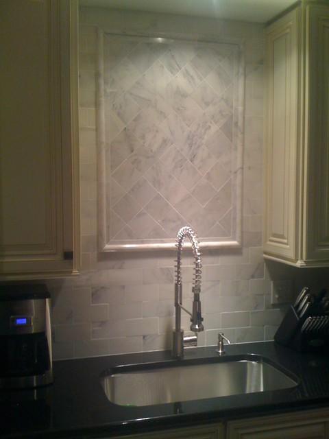 danze parma kitchen faucet pendant light carrera marble backsplash