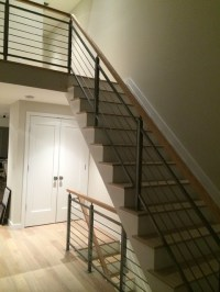 Horizontal railing with wood handrail - Modern - Staircase ...
