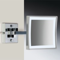Square Wall Mounted LED Brass 3x Magnifying Mirror