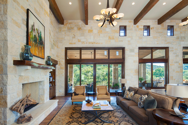 photos hill country custom home rustic living room austin