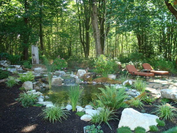woodland patio & water feature