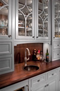 Wet Bar - Wood top - Copper sink - Traditional - Kitchen ...