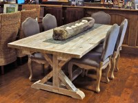 Reclaimed Wood Garden Trestle Table with Extensions. Many ...