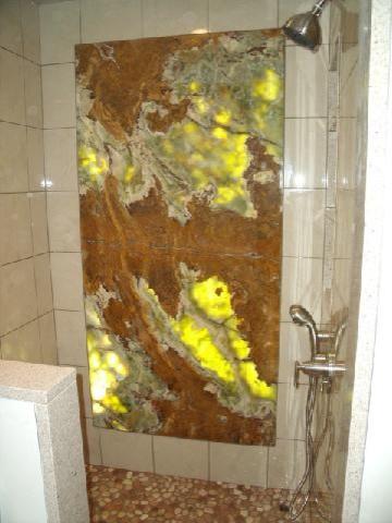 Backlit Onyx Shower Eclectic Bathroom Philadelphia