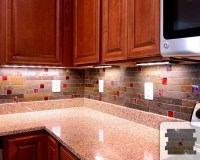 Rusty Slate Subway Mosaic Red Glass Kitchen Backsplash ...