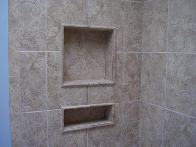 Tile Pencil Molding  Contemporary  Bathroom  raleigh