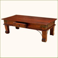 Rustic Solid Wood 1Storage Drawer Sofa Coffee Table